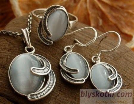 Baneza - srebrny komplet z kocim okiem