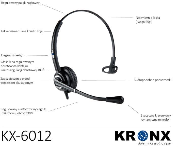 Kronx KX-6012 słuchawki przewodowe dla Call Center z reducja szumów