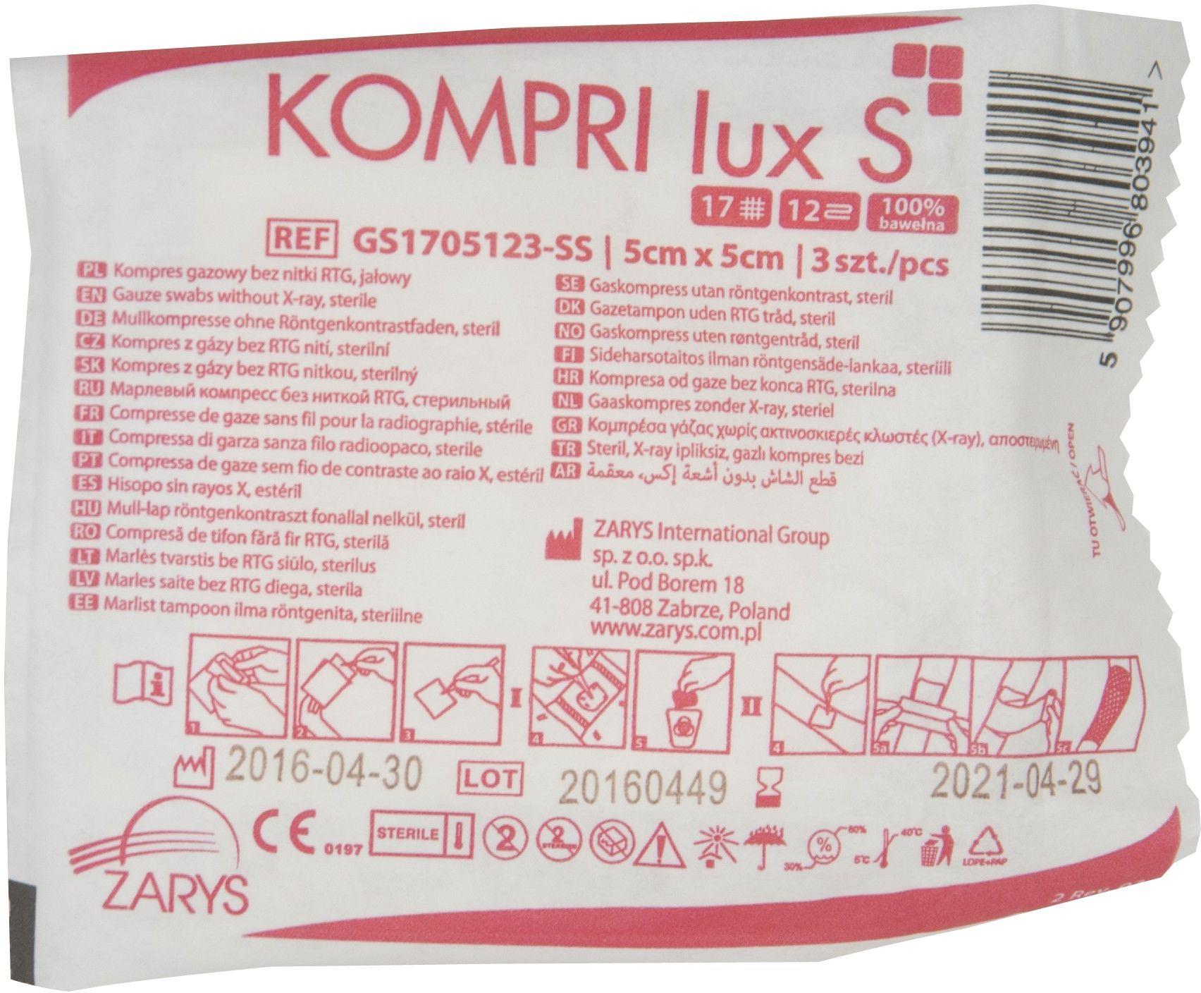 Kompresy gazowe jałowe KOMPRI lux S