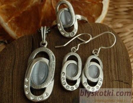 Vespa - srebrny komplet z kocim okiem