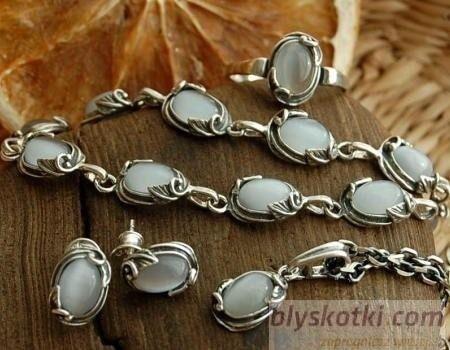 Juna - srebrny komplet z kocim okiem