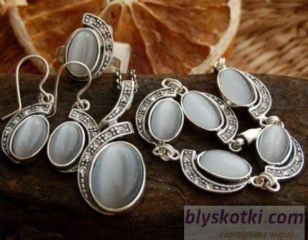 Ponti - srebrny komplet z kocim okiem