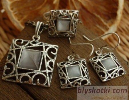 Azurra - srebrny komplet z kocim okiem