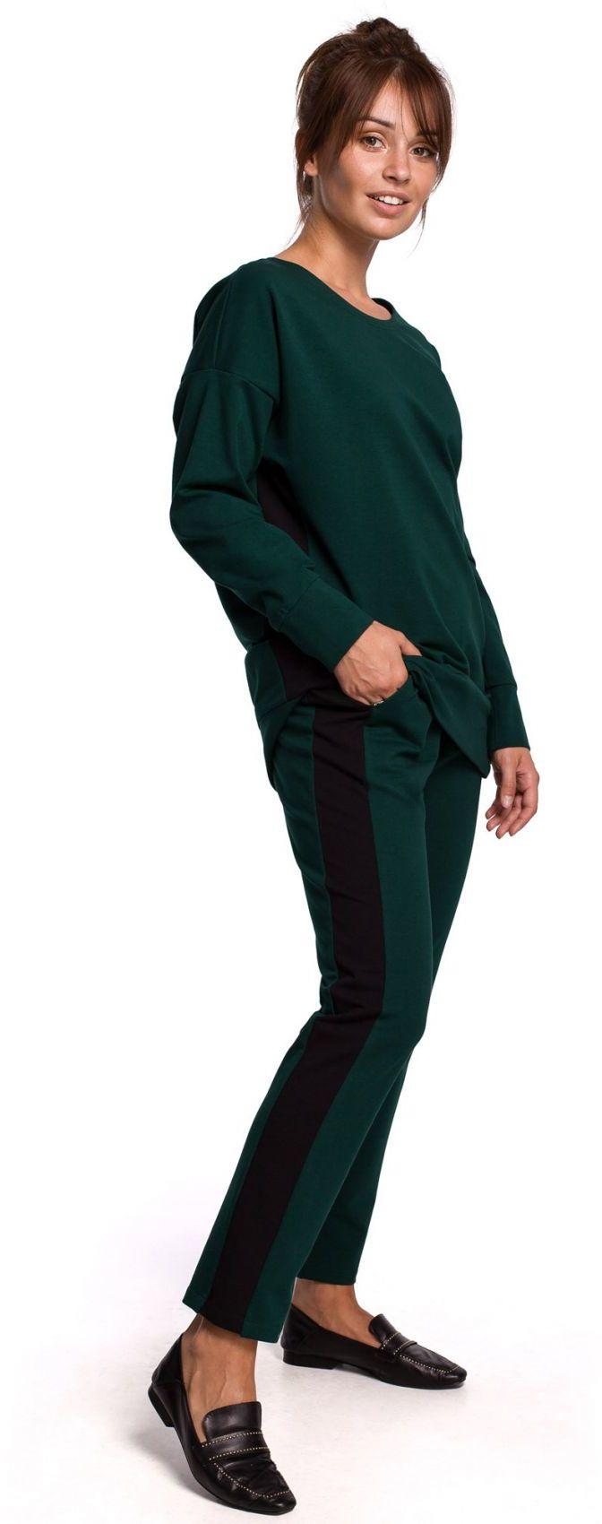 B173 Spodnie z lampasami - ciemnozielone