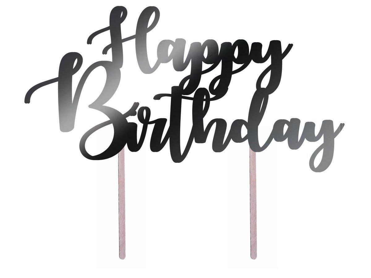 Topper papierowy na tort Happy Birthday - 20 cm