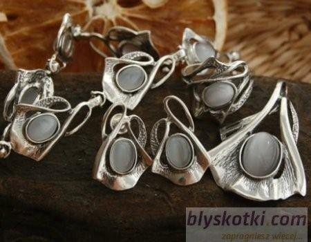 Lobelia - srebrny komplet z kocim okiem