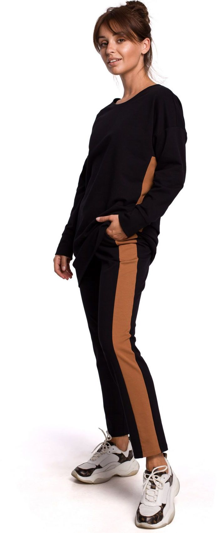 B173 Spodnie z lampasami - czarne