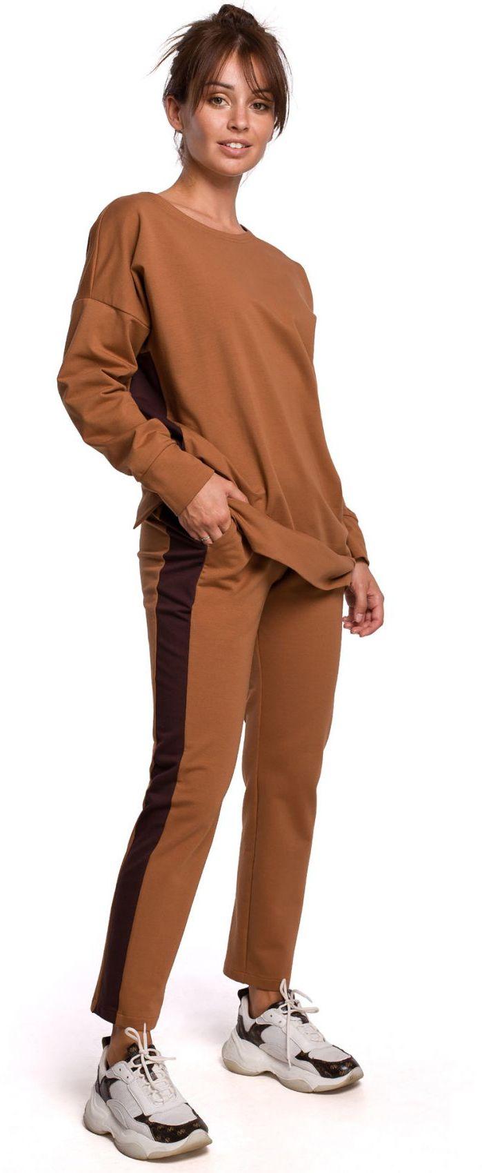 B173 Spodnie z lampasami - karmelowe