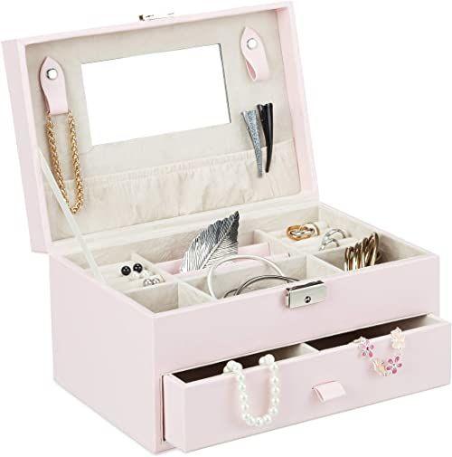 Relaxdays Szkatułka na biżuterię z lustrem, szkatułka ze sztucznej skóry, zamykane pudełko na biżuterię z uchwytem na podróż, różowa