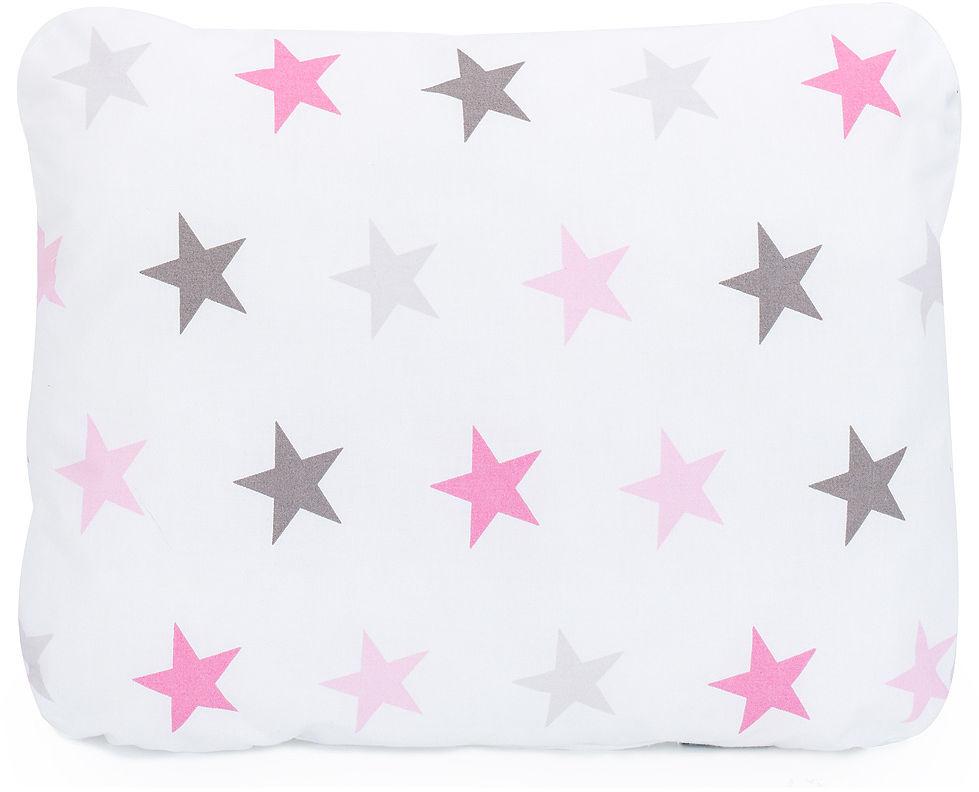 MAMO-TATO Poduszka podusia przytulanka z wypełnieniem  30x40 - Gwiazdy szare i różowe D