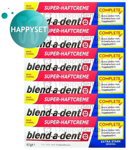BLEND-A-DENT HappySET Original 6x47g - kleje (granatowe) do protez o wzmocnionym działaniu (zestaw 6 sztuk)