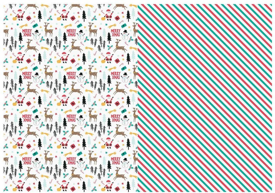 Papier do pakowania prezentów Merry Xmas, mix - 70 x 200 cm - 2 szt.