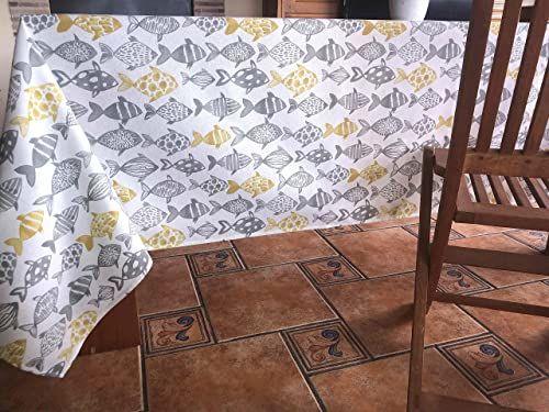 Obrus z płótna żaglowego, zadrukowany, 140 x 200 cm, żółty