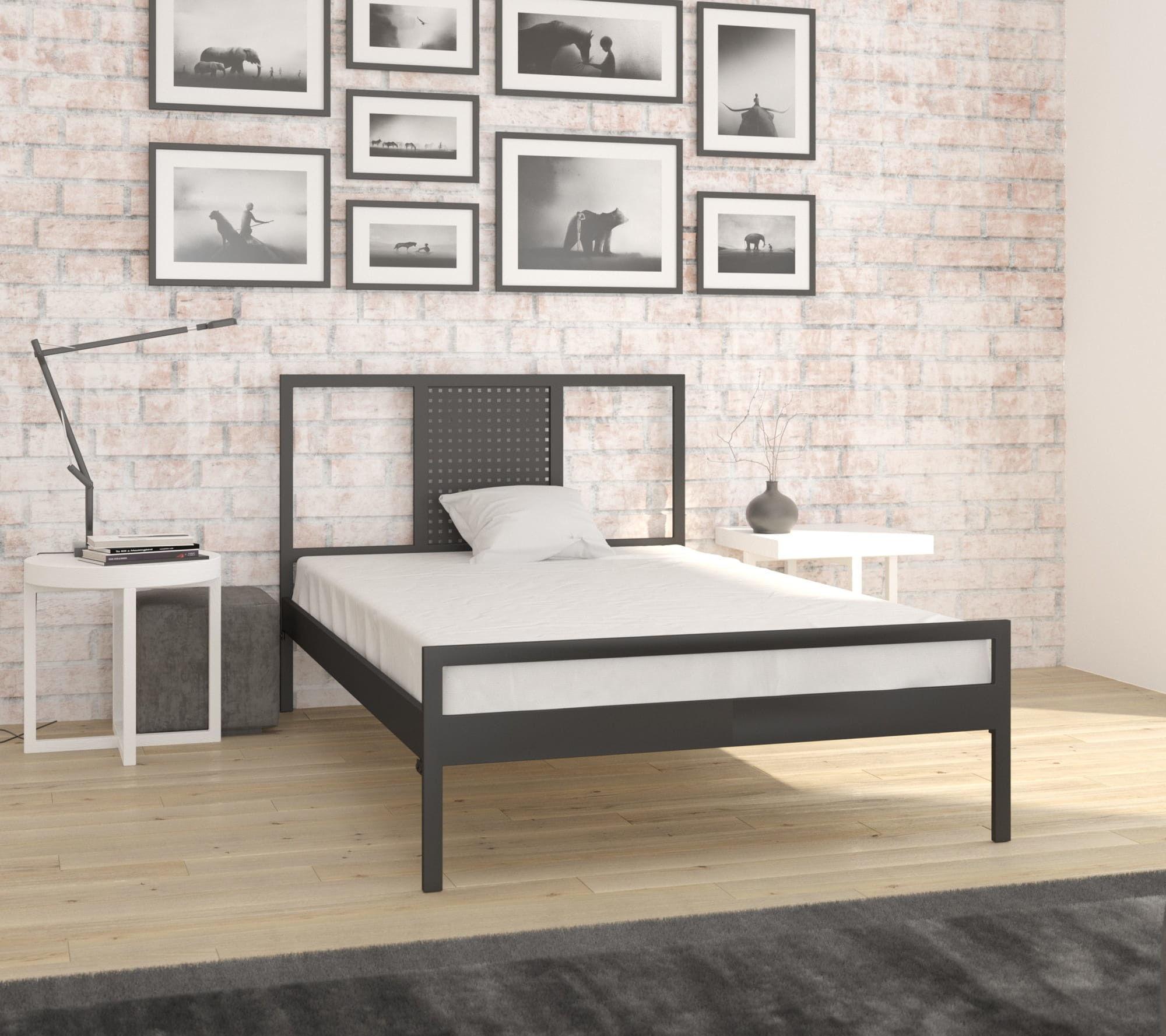 łóżko metalowe Lak System 120x200 wzór 41 ze stelażem
