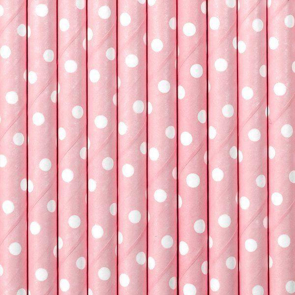 Słomki papierowe w kropki j.róż 10szt SPP2-081J