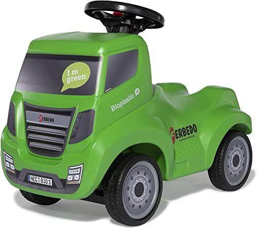 Ferbedo Truck Bio zielony (zjeżdżalnia dla niemowląt z zaczepem do przyczepy, kierownica z wbudowanym klaksonem, pojazd dziecięcy z wgłębieniem na kolana, cicha opona) 172009
