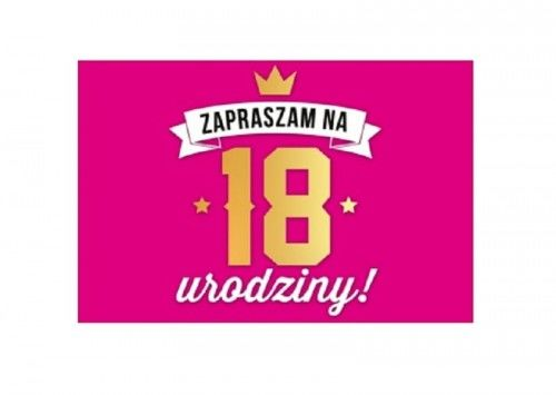 Zaproszenie na 18 urodziny, różowe
