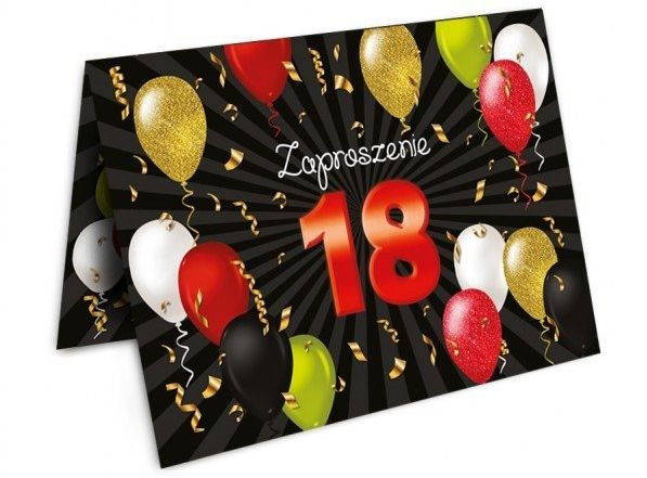 Zaproszenie na 18 urodziny osiemnastkę Baloniki + koperta 1 sztuka ZX8904
