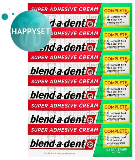 BLEND-A-DENT HappySET ES Neutral 6x47g - kleje (zielone) do protez bez substancji smakowych (zestaw 6 sztuk)