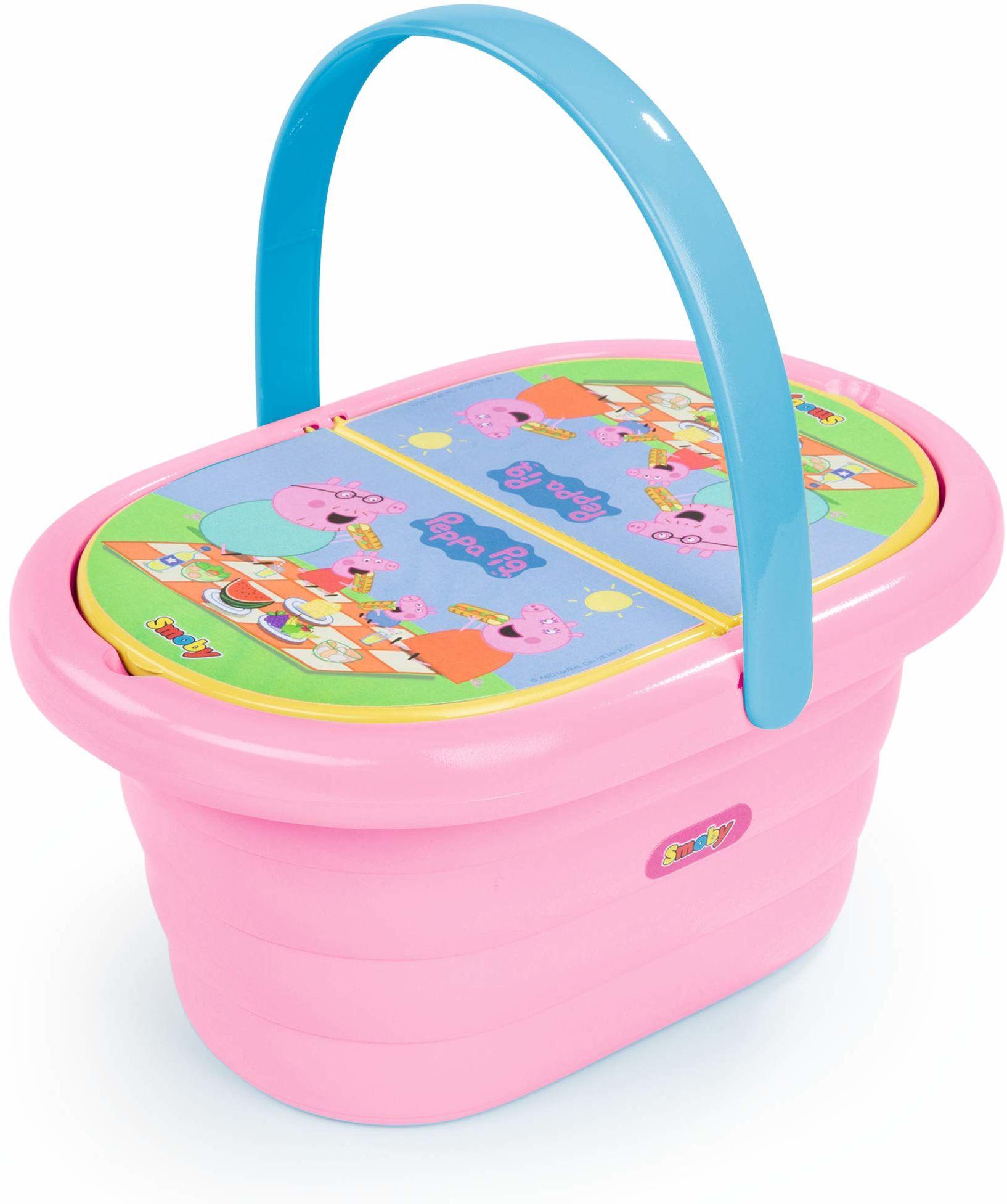 Smoby 310589  kosz piknikowy Peppa Wutz  zestaw do zabawy z serwisem do herbaty zabawkowej (20 części), w zestawie talerz, sztućce, kubek, dla dzieci od 3 lat, różowy