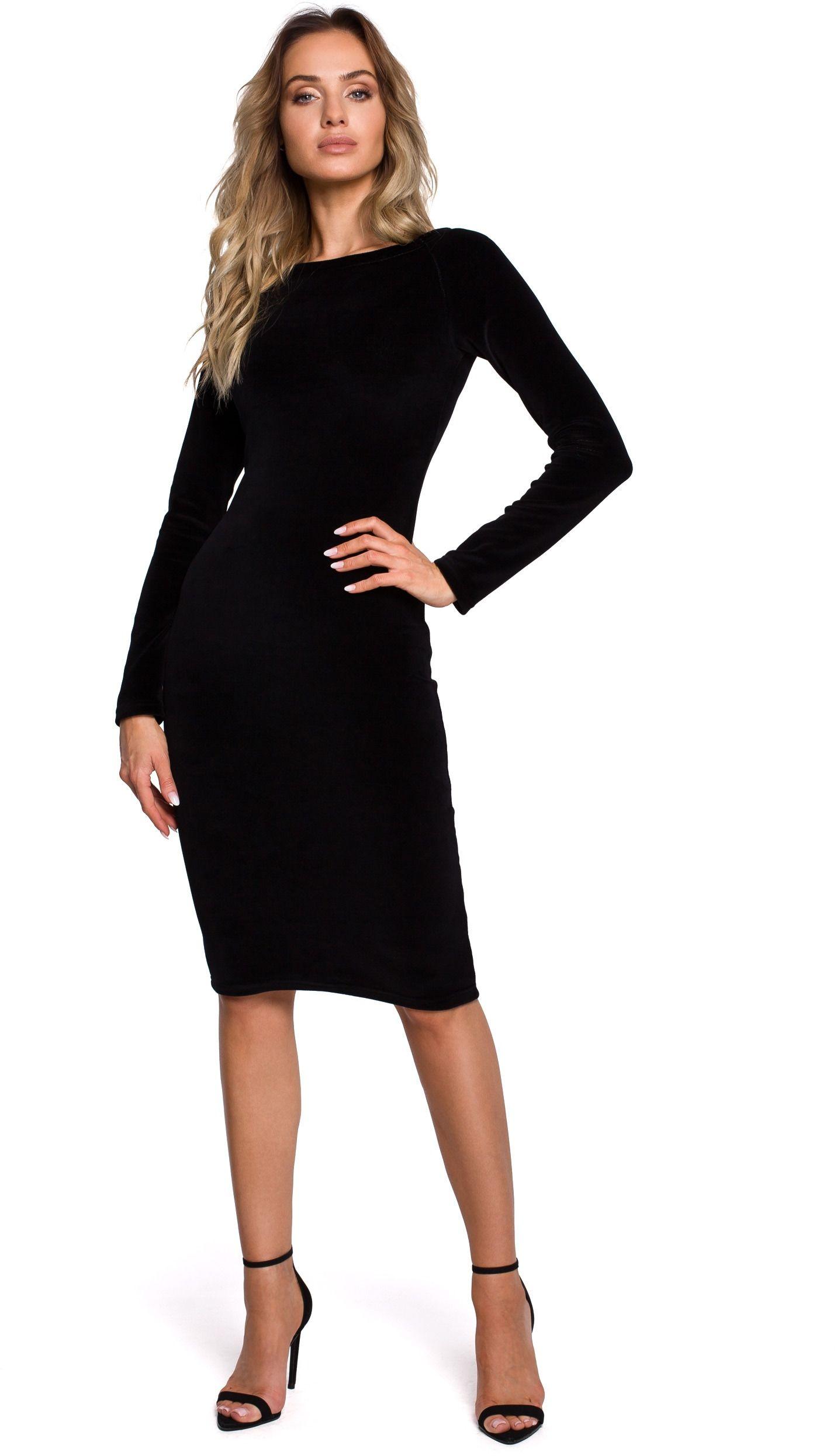 Czarna klasyczna ołówkowa sukienka welurowa