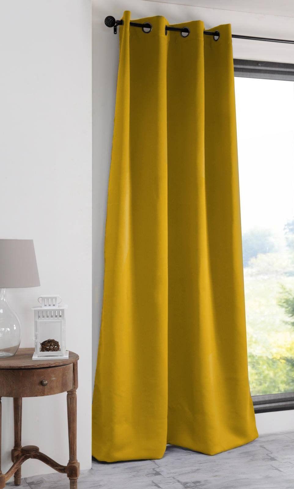 Lovely Casa Note zasłona, nieprzezroczysta, 140 x 280 cm, poliester, musztardowa żółta