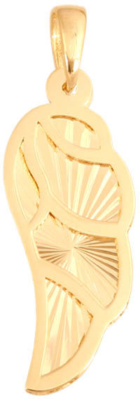 Złota przywieszka 585 skrzydło ze wzorem 0,70 g