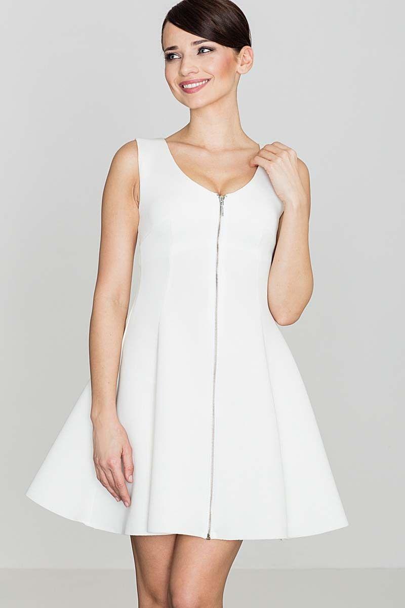 Ecru rozkloszowana sukienka bez rękawów z długim suwakiem na przodzie