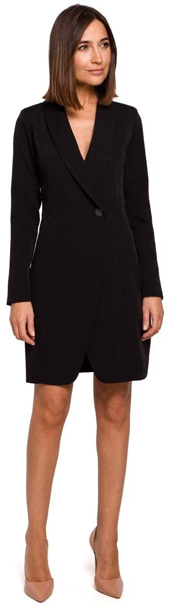Czarna elegancka żakietowa sukienka na jeden guzik