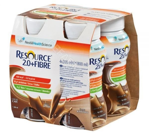 Resource 2.0 + Fibre o smaku kawowym, 4 x 200 ml