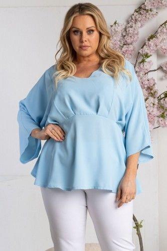 Bluzka szerokie rekawy odcinana pod biustem elegancka ala baskinka MADRYTA błękitna