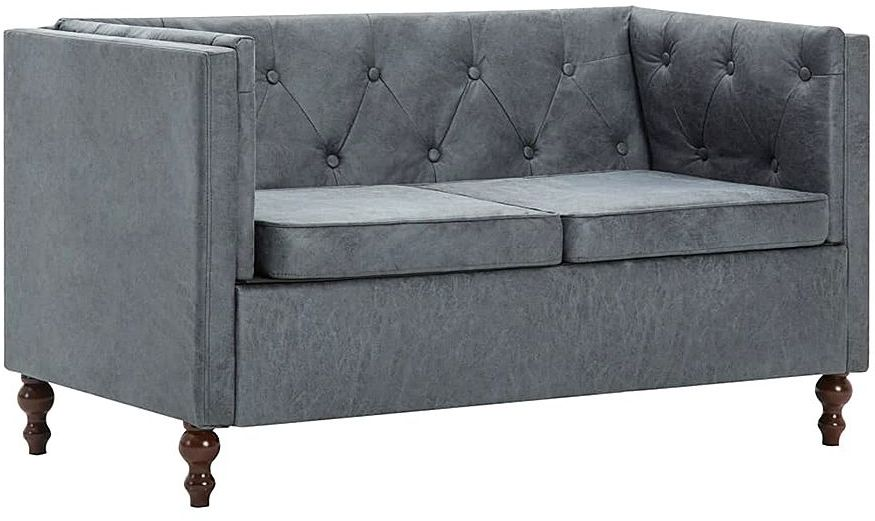 2-osobowa Sofa James 2Q w stylu Chesterfield - szara