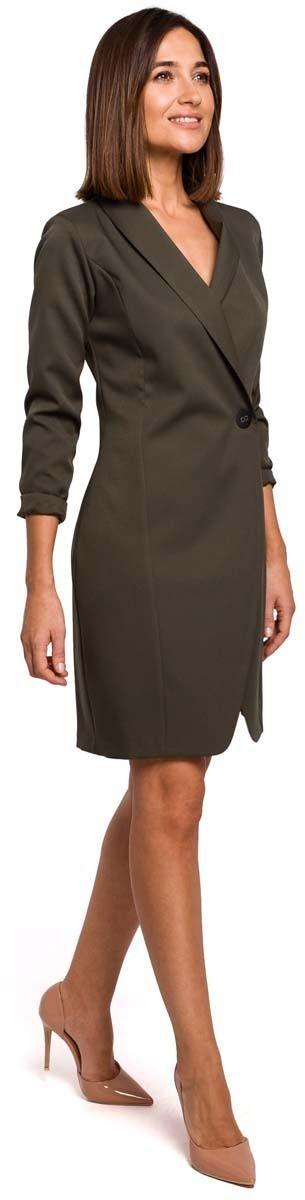 Khaki elegancka żakietowa sukienka na jeden guzik