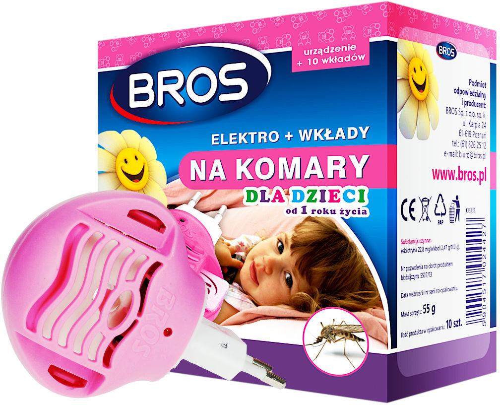 Bros Elektro na komary dla dzieci + 10 wkładów. Fumigator na komary.