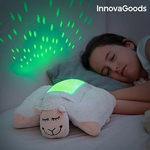 InnovaGoods IG813673 pluszowe zwierzątko projektor LED owca, biały
