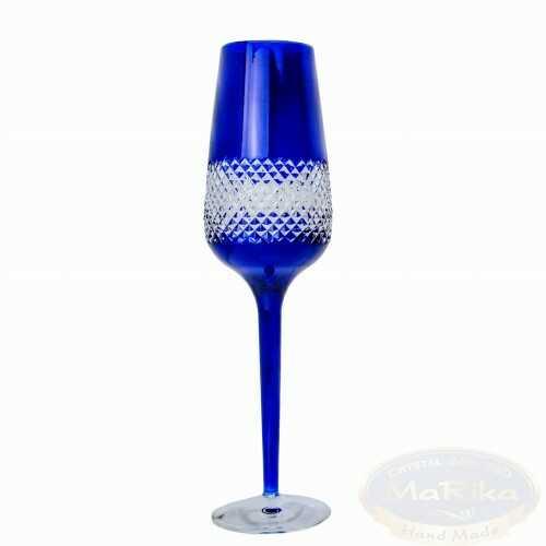 Kobaltowe kryształowe kieliszki do szampana krateczka 2 sztuki