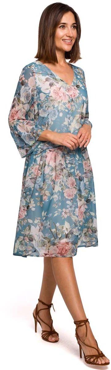Miętowa kobieca sukienka w kwiaty z obniżoną talią