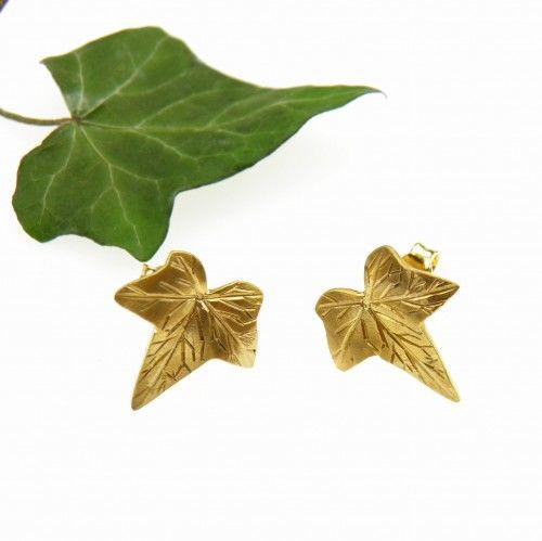 Bluszcz - kolczyki małe złote