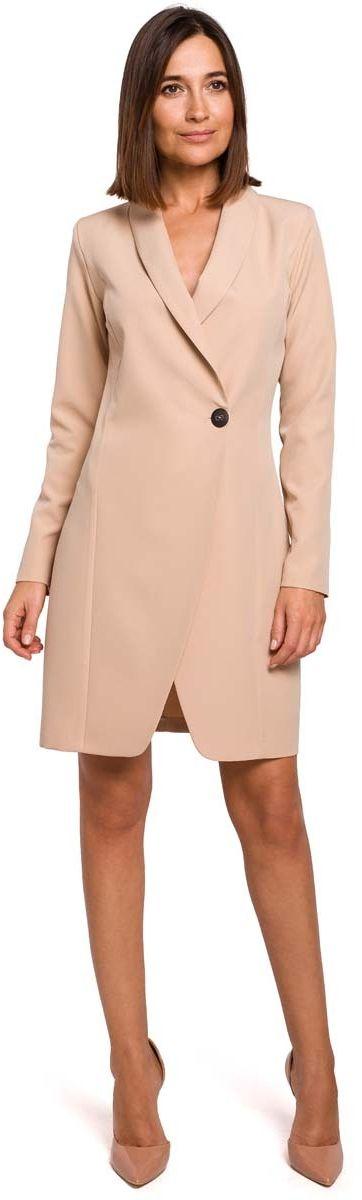 Beżowa elegancka żakietowa sukienka na jeden guzik