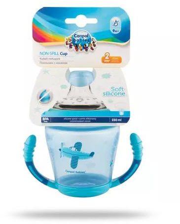 Canpol Babies kubek niekapek miękki silikonowy ustnik niebieski 230 ml [56/502_blu]
