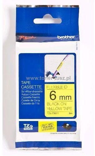 Brother TZe-FX611 Flexi ID taśma, nadruk czarny na żółtym tle, 6 mm, oryginalna