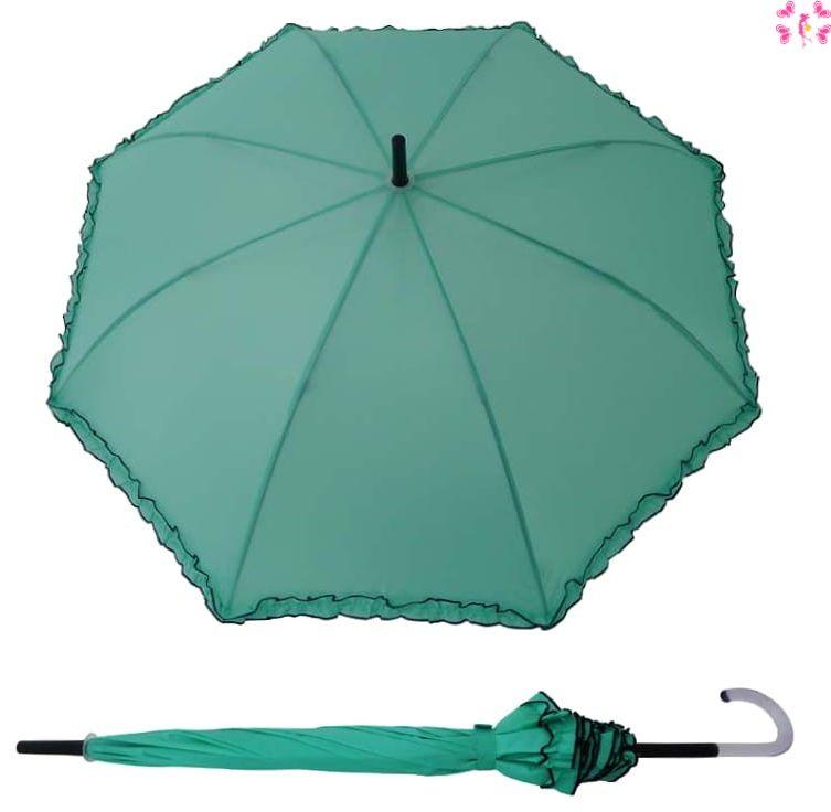 Długa Parasolka damska automat PERLETTI Morska Zieleń