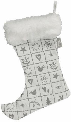 """APELT 4911_24x32_88 buty z obszyciem futra """"4911 Mozaika / motywy bożonarodzeniowe"""", około 24 x 32 cm, białe/szare"""