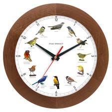 Zegar z głosami ptaków drewniany solid #1A