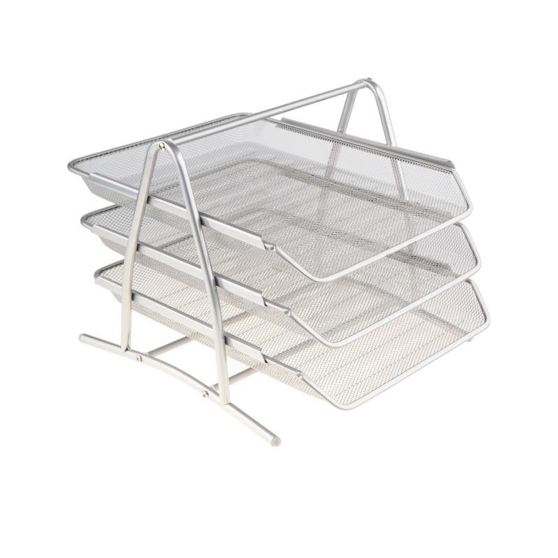 Półka na dokumenty siatka srebrna 3 szuflady Net W2001