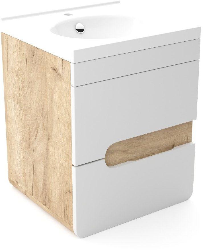 Szafka pod umywalkę LOFT 60 WP biały mat/dąb  Kupuj w Sprawdzonych sklepach