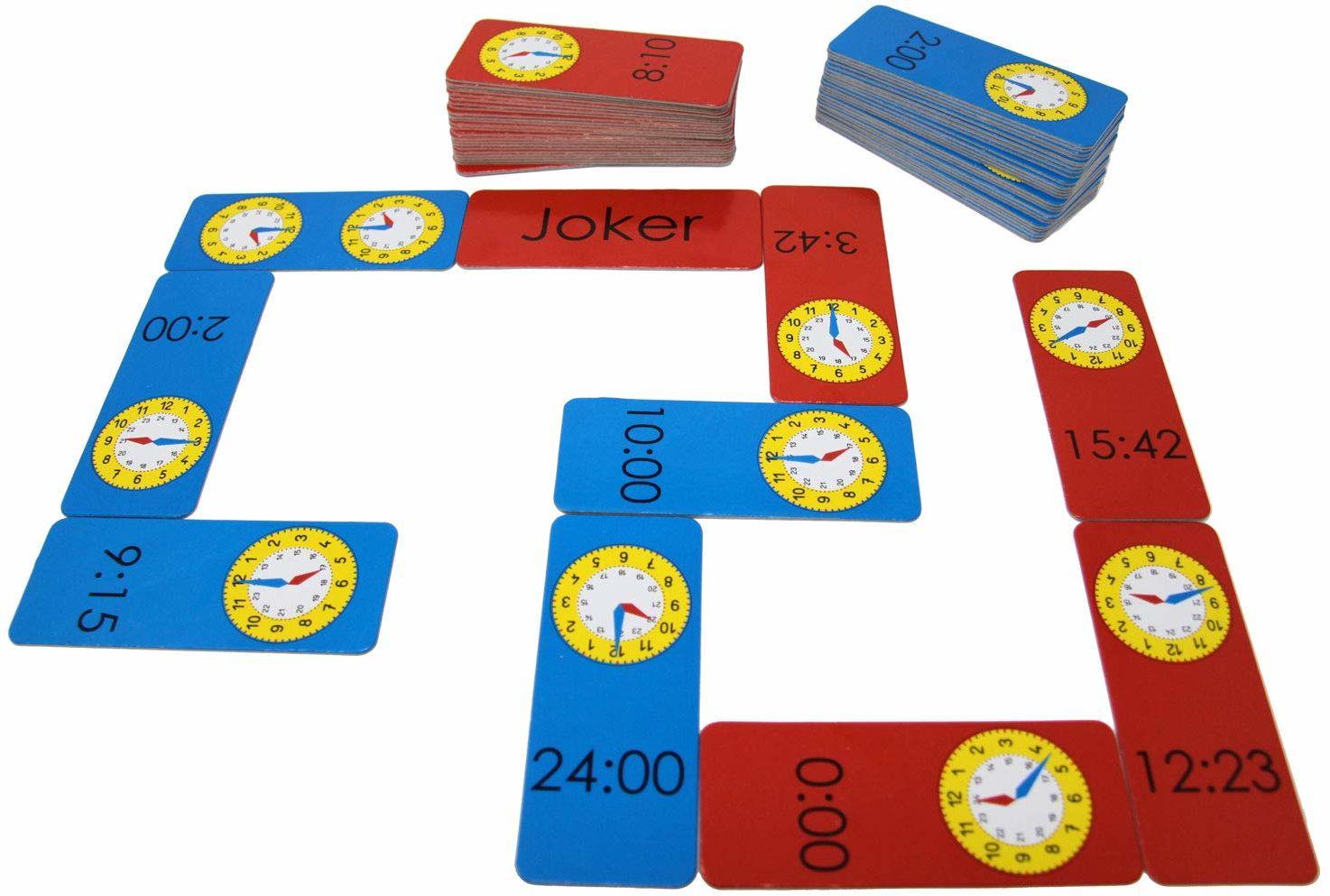 Wissner Aktywna nauka 200095.IMP - godzina Domino, gra edukacyjna dla dzieci do ćwiczenia zegarka i czasu z zabawy, wyprodukowana z kartonu z recyklingu