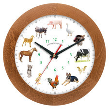 Zegar drewniany z głosami zwierząt solid #1