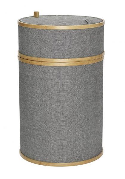 Hübsch BATH Okrągły Bambusowy Kosz - Pojemnik na Pranie - Szary