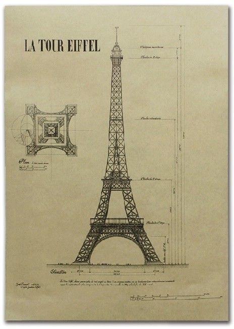 Retro plakat - Wieża Eiffla